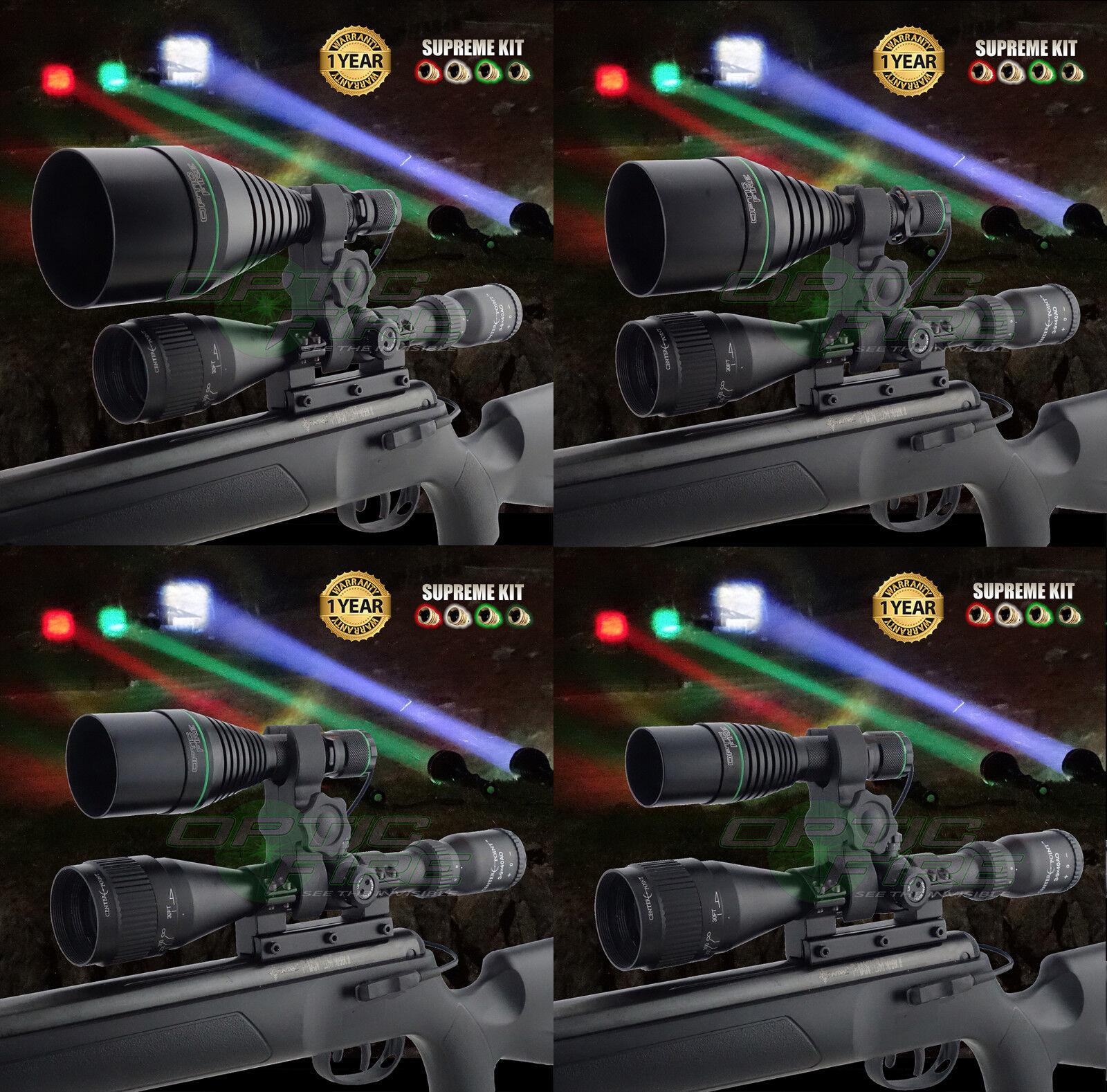 Opticfire ® XS 4 LED Luz de Montaje Alcance Pistola De Lámpara Antorcha Caza Lamping Kit Supremo