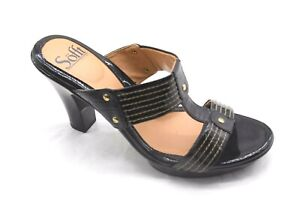 Sofft-size-8-5M-black-leather-mules-womens-ladies-shoes-heels-pumps-1533011