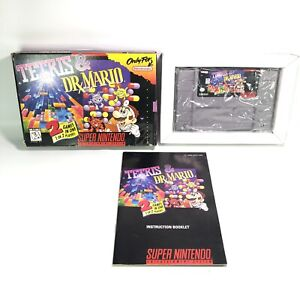 Tetris and Dr. Mario Super Nintendo SNES Game w/ Box & Manual, Tested & Working