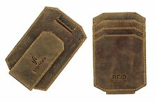 Real Leather Slim Credit Card Holder Wallet Case Strong Magnetic Money Clip 725