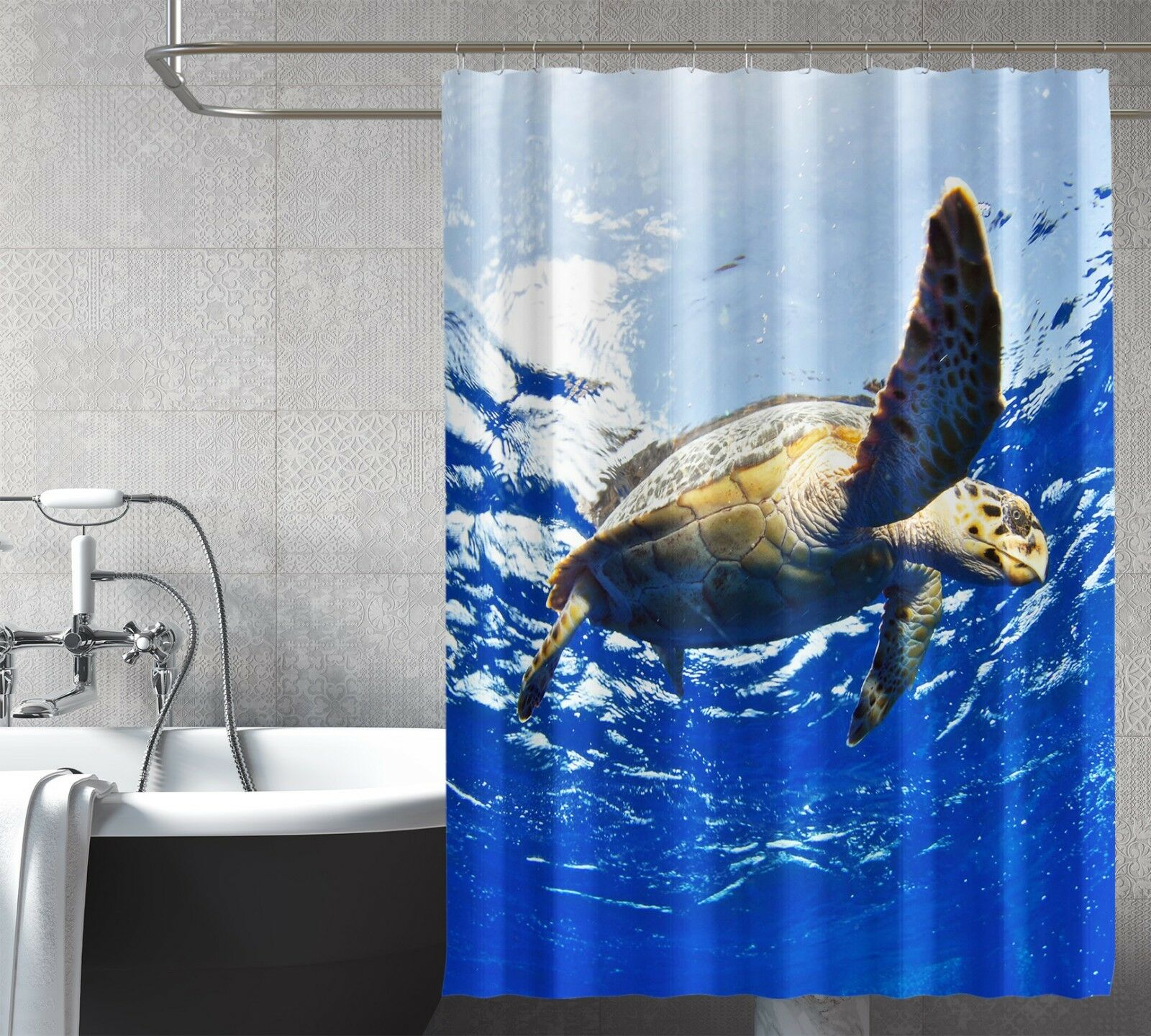 3D Turtle Ocean 89 Shower Curtain Waterproof Fiber Bathroom Home Windows Toilet