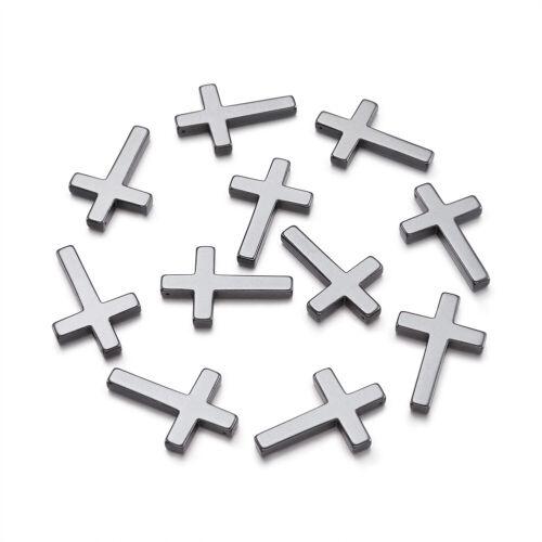 20 Pcs Non-magnétique synthétique hématite croix noir pendentifs charms 23x35x4mm