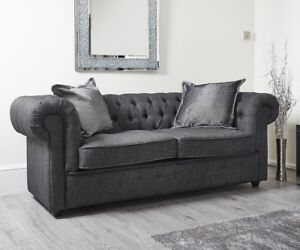 Grey Chesterfield Corner Sofas Chaise Seater Sofa Settee Armchair 2