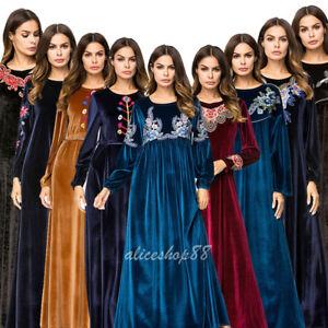 Muslim-Women-Velvet-Embroidery-Abaya-Long-Maxi-Warm-Dress-Dubai-Kaftan-Robe-New