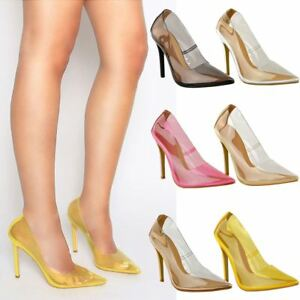 00a7c86f450 Image is loading Womens-Ladies-Pointy-Perspex-High-Heels-Stilettos-Sandals-