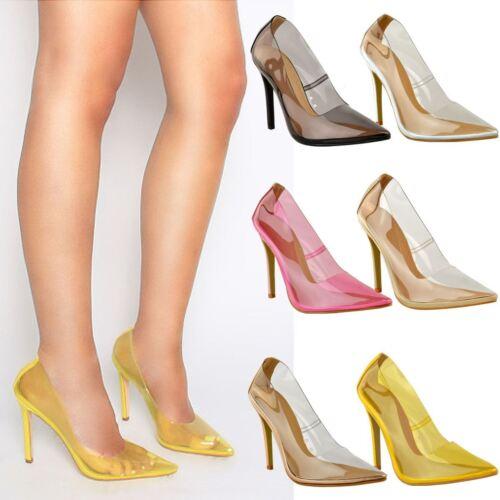 Femme Femmes Bout Pointu Perspex Talons Hauts Stilettos Sandales Soirée Chaussures Clair Taille