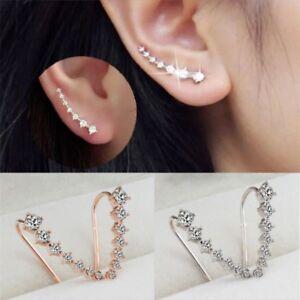 Women-Fashion-Silver-Gold-Rhinestone-Crystal-Earrings-Ear-Hook-Stud-Jewelry-Gift