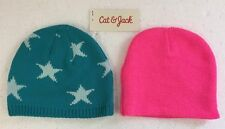 Cat and Jack Baby/Toddler Tossle Knit Snow Winter Hat Cap Aqua Pink   Pack of 2