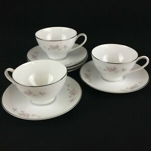 Set-of-3-VTG-Cups-and-5-Saucers-by-Noritake-Bellemead-Pink-Floral-6314-Japan