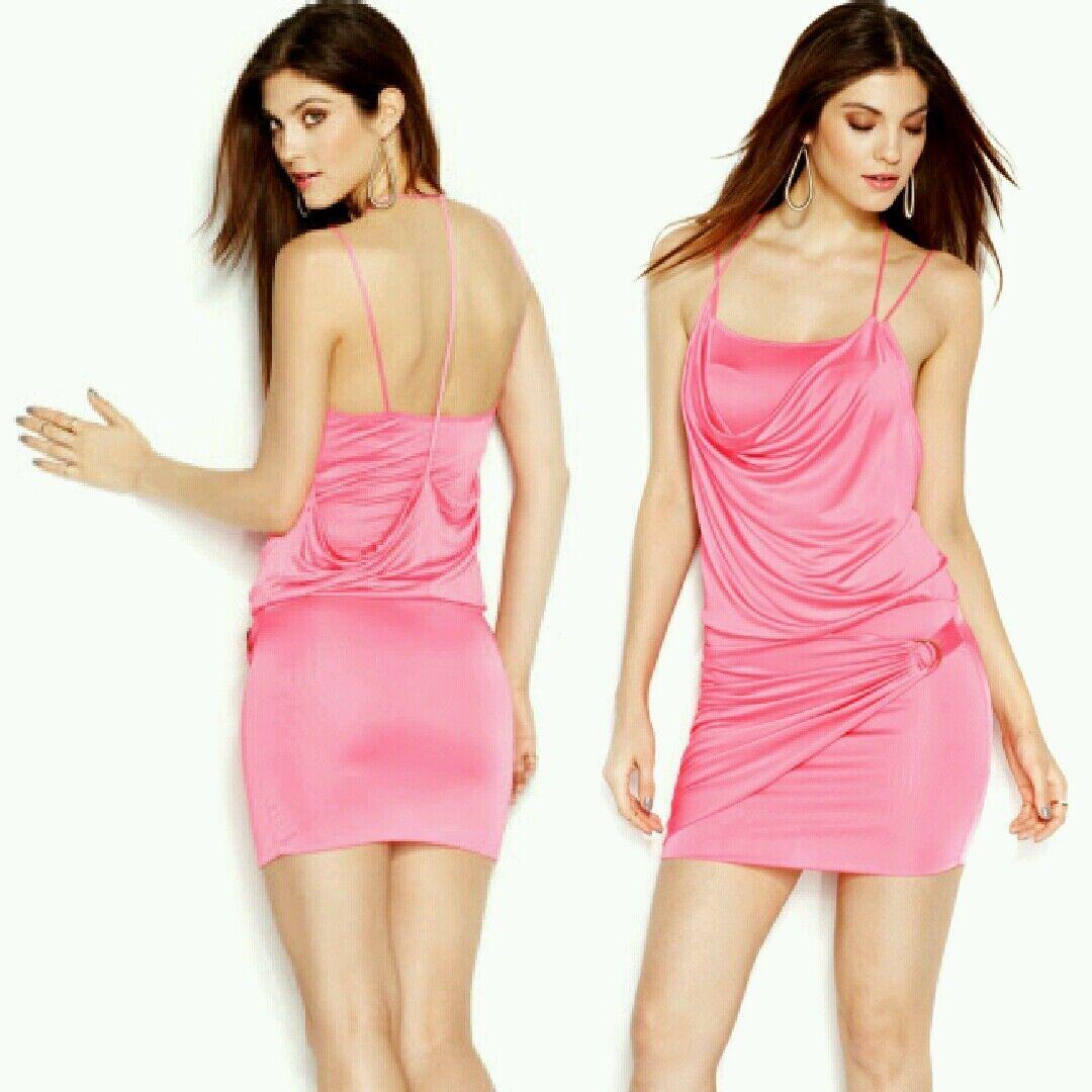 New Guess Woherren Sleeveless Strappy T-Back Stretch Knit Layerot Dress Sz XS