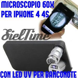 MICROSCOPIO ZOOM 60X INGRANDIMENTI PER IPHONE 4S 4 MAGNIFICATION LENTI LED UV