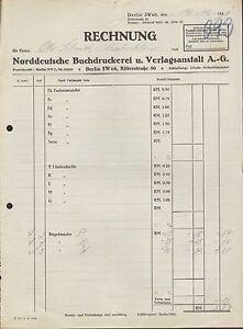 berlin sw 68 rechnung 1931 norddeutsche buchdruckerei u verlagsanstalt ag ebay. Black Bedroom Furniture Sets. Home Design Ideas