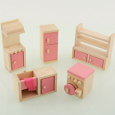 Wooden Doll Kitchen House Furniture Dollhouse Miniature Set For Kids Craft