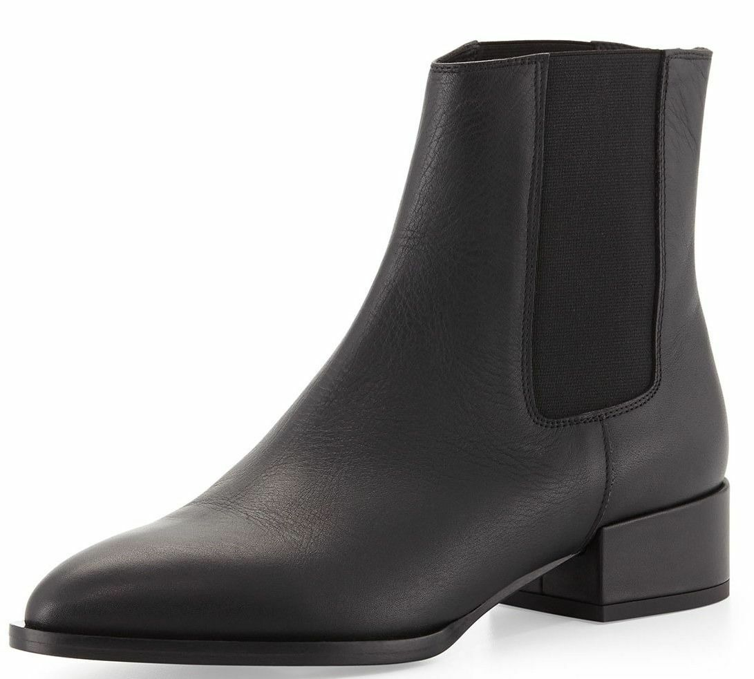 ⚫️Vince Yale Gored Ankle Boot Black Leather Ankle Stretch New sz.11  475