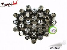 Russian Tulip Flower Icing Piping Tips 34 Nozzles DIY Cake Decorating Tools Box