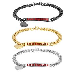 Personalized-Women-Girls-Stainless-Steel-Love-Heart-Charm-Bracelet-Bangle-7-5-034