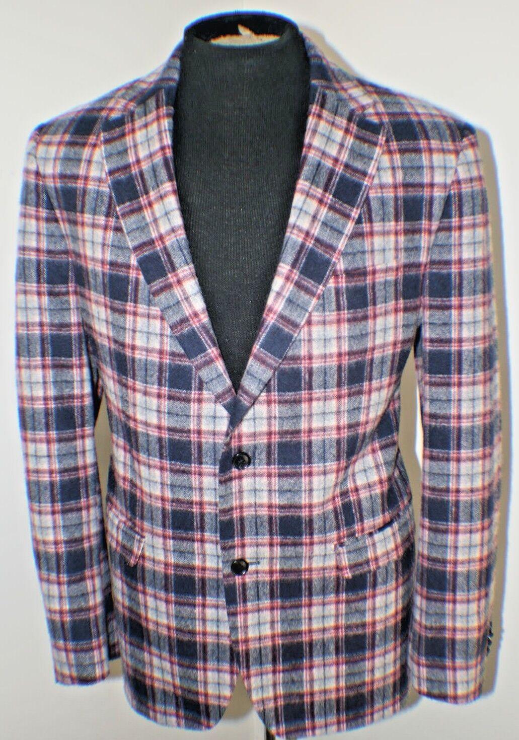 Simon Spurr Valdez Sport Coat Größe 44R Plaid Wool Blend