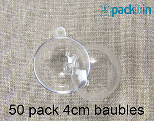 4cm-x50-qty-Clear-Acrylic-Two-Piece-ROUND-Baubles-Balls-christmas-ornaments