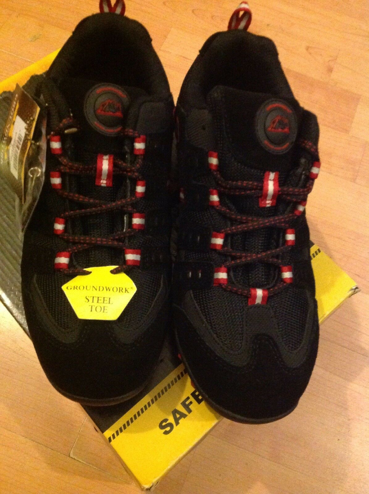 Mens Steel Toed Black red Size 7 41 Trainers New Shop Clearance