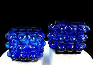 ELEGANT-GLASS-TURQUOISE-LARGE-HOBNAILS-2-PIECE-SQUARE-3-5-8-034-VOTIVES-VASES