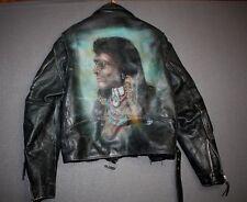 44 * LARGE * vtg custom INDIAN airbrush leather motorcycle jacket * biker