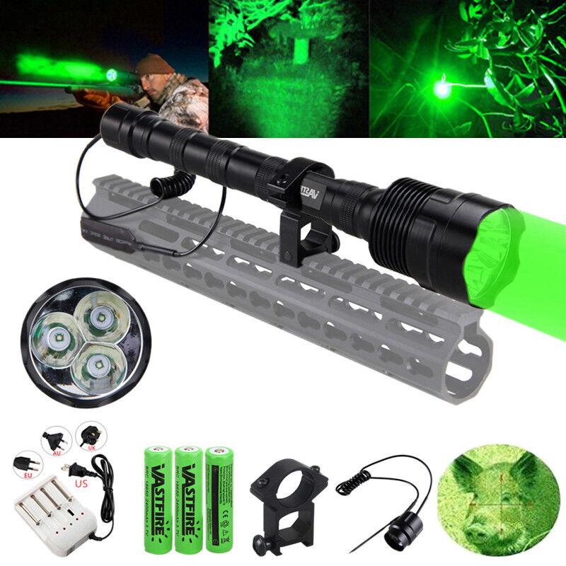 Tactical 3pcs Green LED Hunting Flashlight Long Range Hog Predator Varmint Light