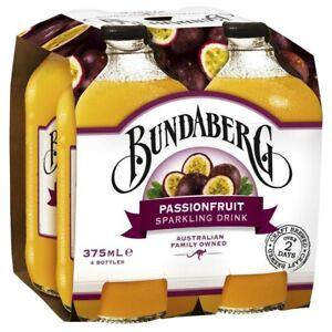 Bundaberg Passionfruit Flavour Sparkling Drink Multipack Bottles 375mL 4 pack