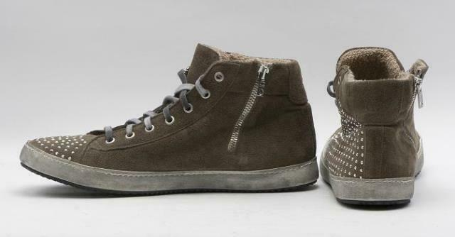 Meline New  Meline Suede Side Zip Crystal Covered Sneakers