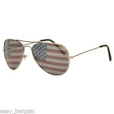 American USA Flag Aviator Sunglasses Patriotic United States Stars Gold