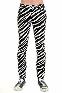 Run-amp-Fly-Mens-Black-White-Zebra-Stretch-Skinny-Jeans-Indie-Retro-Punk-Rock-Glam