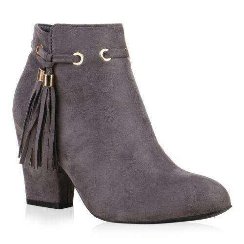 Klassische Damen Stiefeletten Quasten Metallic Block Absatz 812288 Trendy