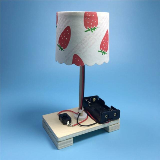 DIY Wooden Toys Switch Control Desk Lamp Learning Educational Assemble Gift
