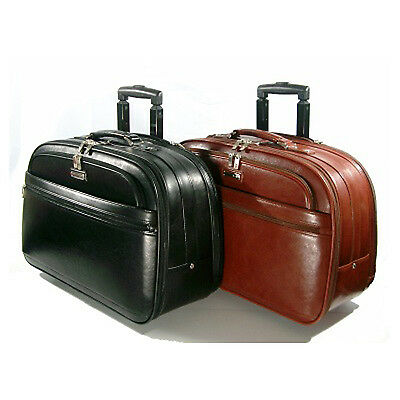 Rolling Leather Briefcase Business Travel Bag Lawyer Doent Wheels Ebay