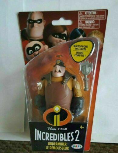 Présentoir Figure Comme neuf on Card JAKKS environ 7.62 cm The Incredibles 2 Underminer avec microphone 3 in