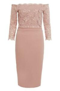 NEW-RRP-32-99-Quiz-Dusky-Pink-Sequin-Lace-Scallop-Midi-Dress-B134