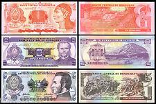 HONDURAS - 3 BANCONOTE FDS 1 2 5 LEMPIRAS LOTTO COLLEZIONE BANKNOTES UNC NOTE