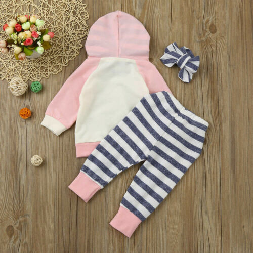 3pcs Toddler Baby Set Boy Girl Clothes Set Hoodie Tops+Pants+Headband Outfits