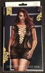 baci lingerie corset front lace mini dress black queen