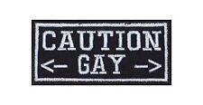 Caution Pfeil Gay Pfeil Biker Heavy Rocker Patch Aufnäher Bügelbild Kutte Badge