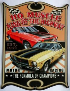 HOLDEN-HQ-MUSCLE-KING-OF-THE-HIGHWAY-All-Weather-Metal-Sign-475X360