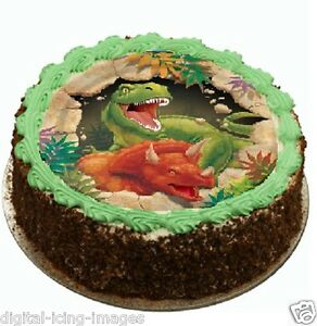 Image Is Loading Dinosaur Cake Topper Edible Icing Party Birthday