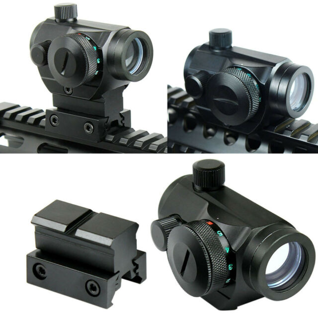 Tactical Reflex Red Green Dot Sight Scope - Dual High - Low Profile Rail Mounts
