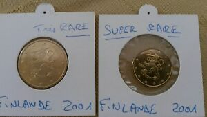 Lot-de-2-FINLANDE-2001-les-plus-rares-1-piece-10-cent-1-piece-50-cent-UNC
