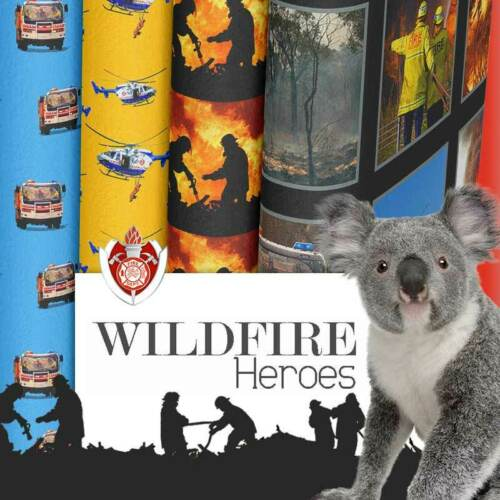 Wildfire Heroes: Firefighters,Trucks 60 x 110 cms Helicopters Panel Cotton