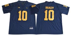 Men's Tom Brady Jersey 10 Michigan Wolverines Sewn College ...