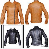 Ladies Real Leather Jacket Fitted Bikers Style brown Vintage Black 8 10 12 14 16