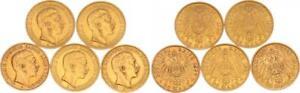 5 x 20 Mark 100 Reichsmark Gold Wilhelm II Large Eagle Prussia (49476)