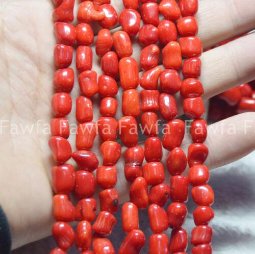 """Natural 7-11 mm Vintage raíces Grueso Barril De Coral Rojo suelta granos 15/"""" Hilos"""