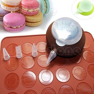 3 Nozzle Silicone Macaron Baking Pastry Cream Cake Muffin Decorating Pen Kit Set