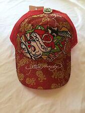 NWT Red Ed Hardy Do or Die Skull Rose Baseball Cap Hat